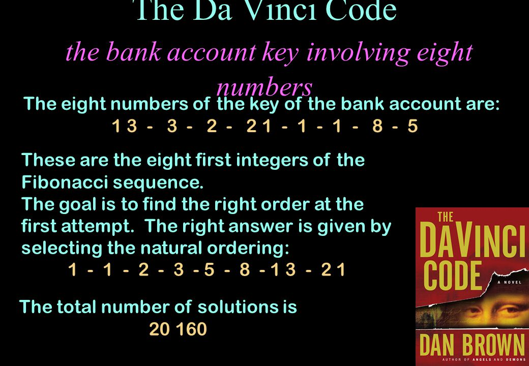 The Da Vinci Code the bank account key involving eight numbers
