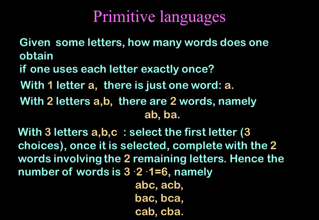 Primitive languages Given some letters, how many words does one obtain