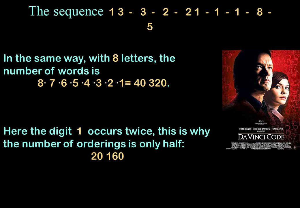 The sequence 1 3 - 3 - 2 - 2 1 - 1 - 1 - 8 - 5 In the same way, with 8 letters, the number of words is.