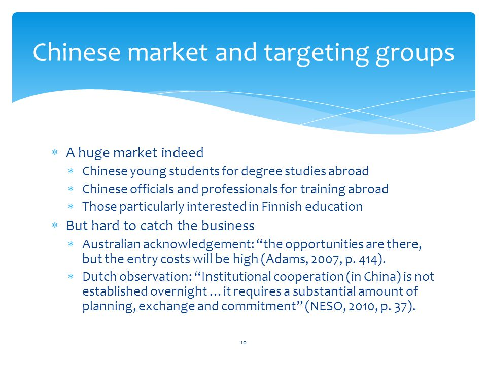 Chinese market and targeting groups
