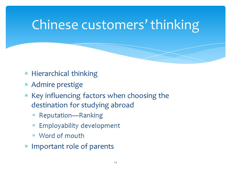 Chinese customers' thinking