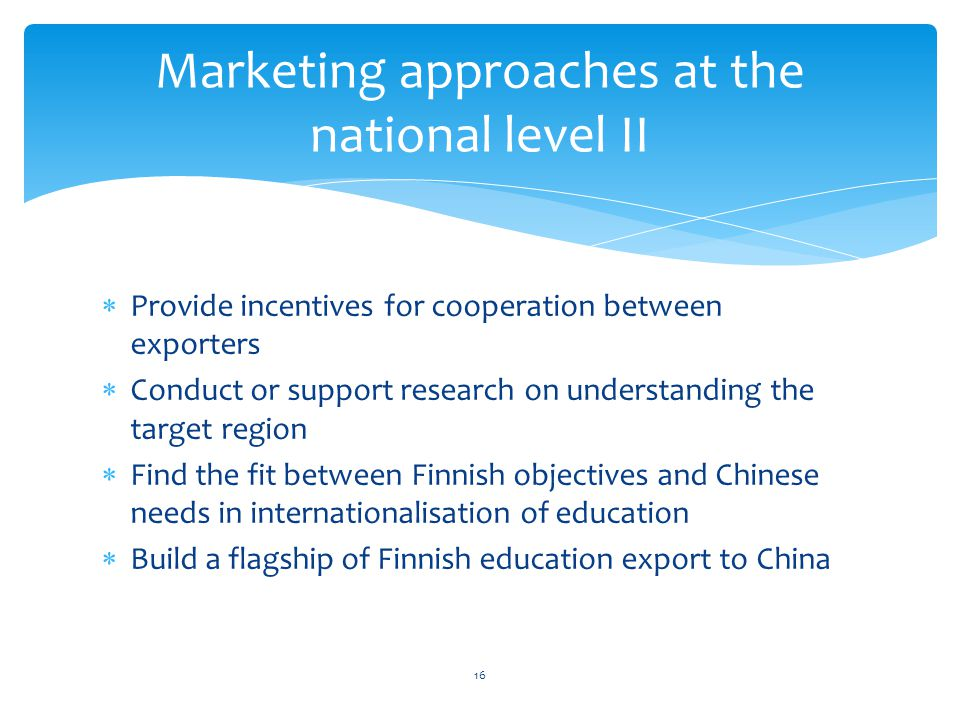 Marketing approaches at the national level II