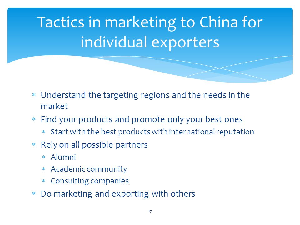 Tactics in marketing to China for individual exporters