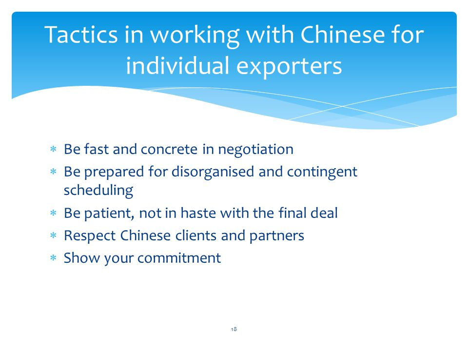 Tactics in working with Chinese for individual exporters