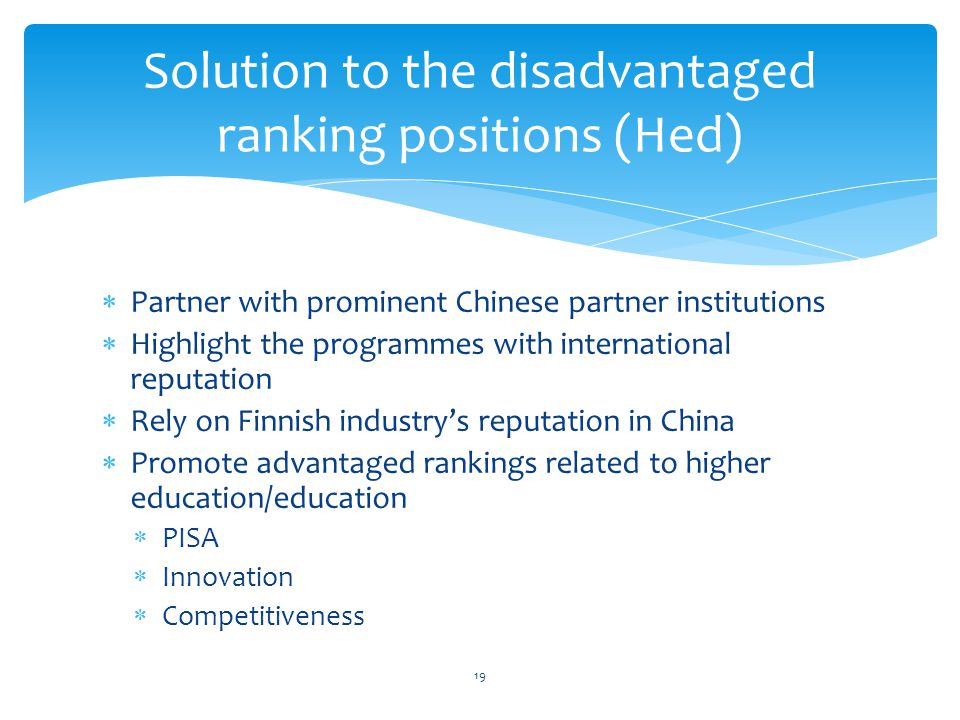 Solution to the disadvantaged ranking positions (Hed)