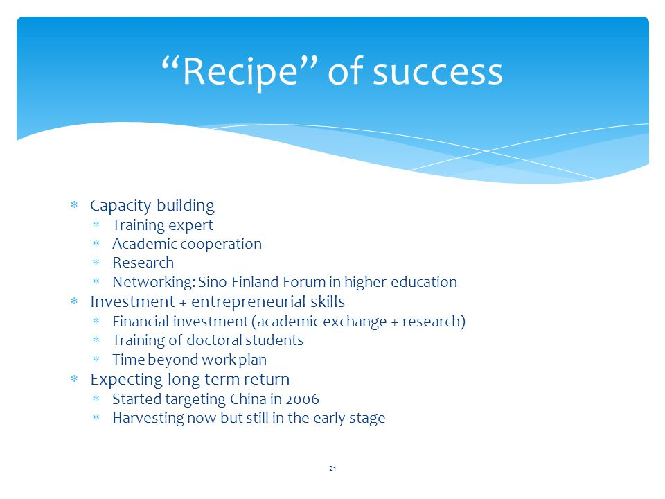 Recipe of success Capacity building