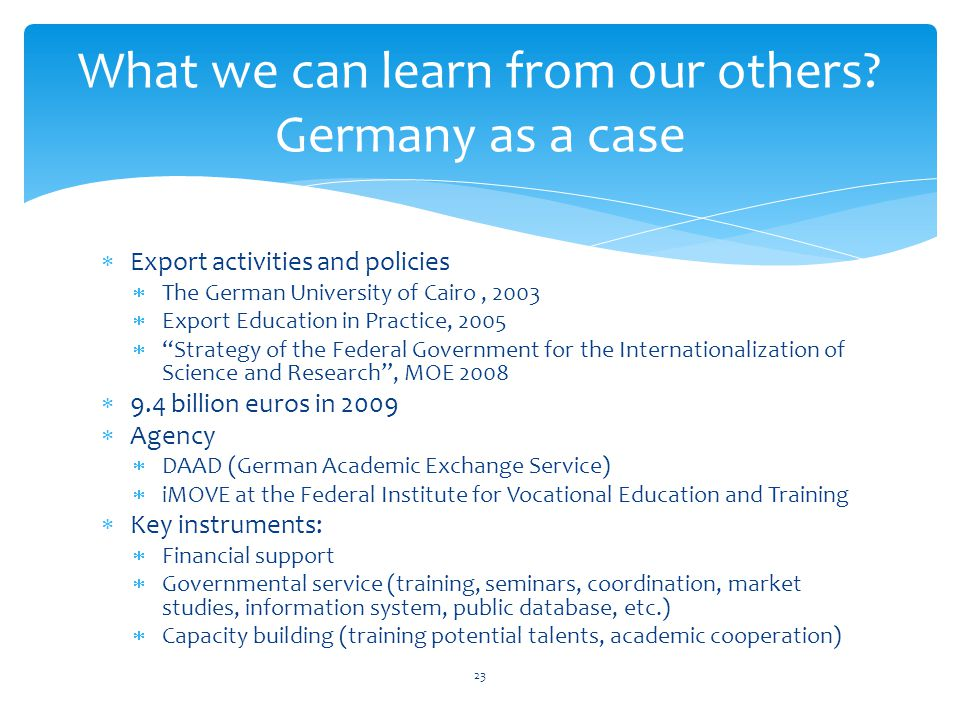 What we can learn from our others Germany as a case