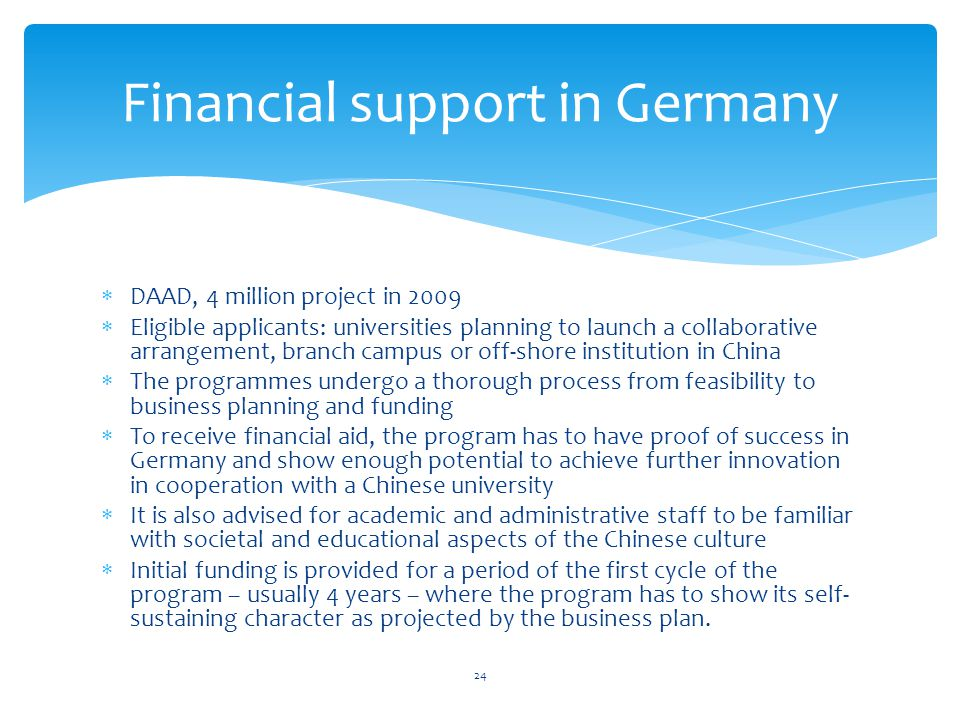 Financial support in Germany