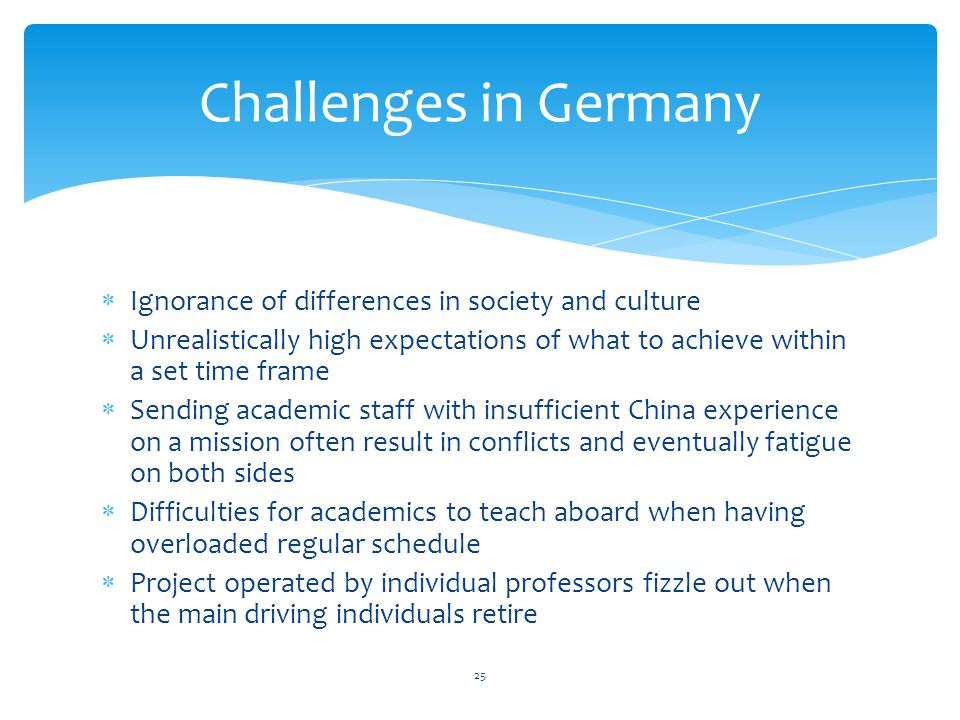 Challenges in Germany Ignorance of differences in society and culture