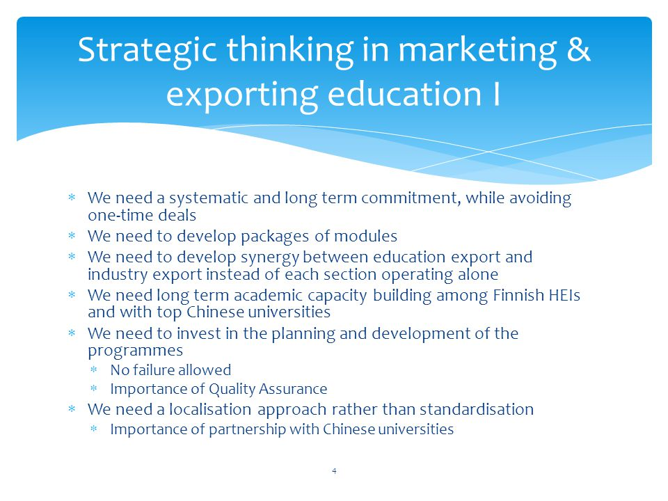 Strategic thinking in marketing & exporting education I