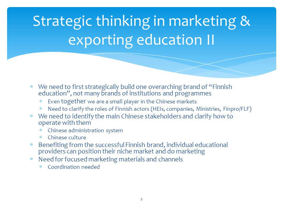 Strategic thinking in marketing & exporting education II