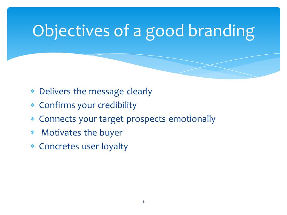 Objectives of a good branding