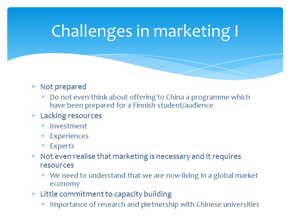 Challenges in marketing I