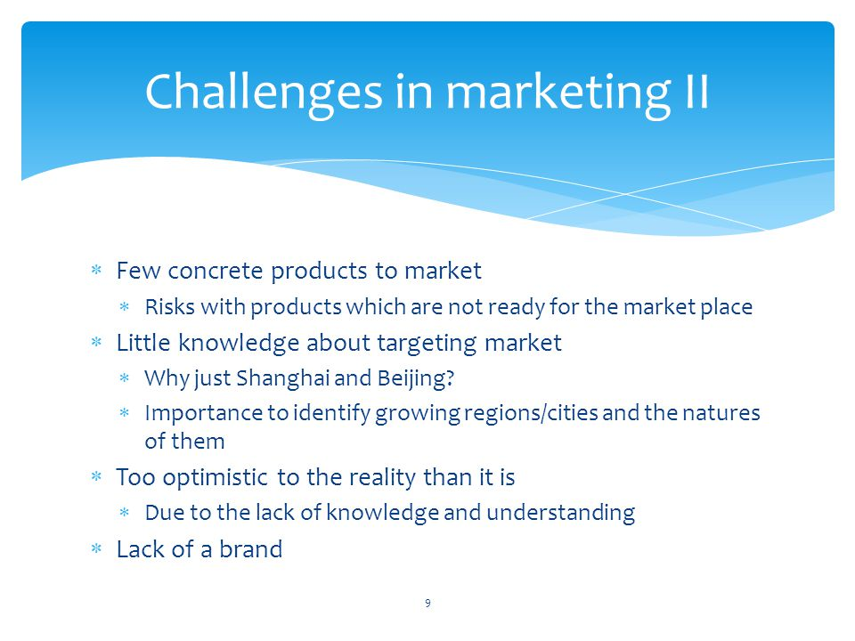 Challenges in marketing II