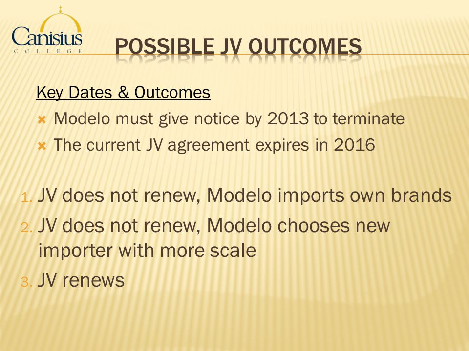Possible JV Outcomes JV does not renew, Modelo imports own brands