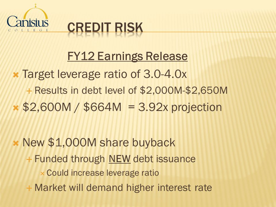 Credit RISK FY12 Earnings Release Target leverage ratio of 3.0-4.0x