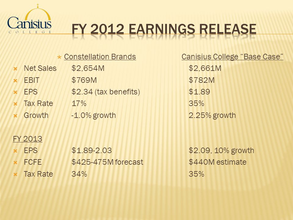 FY 2012 Earnings Release Constellation Brands Canisius College Base Case Net Sales $2,654M $2,661M.