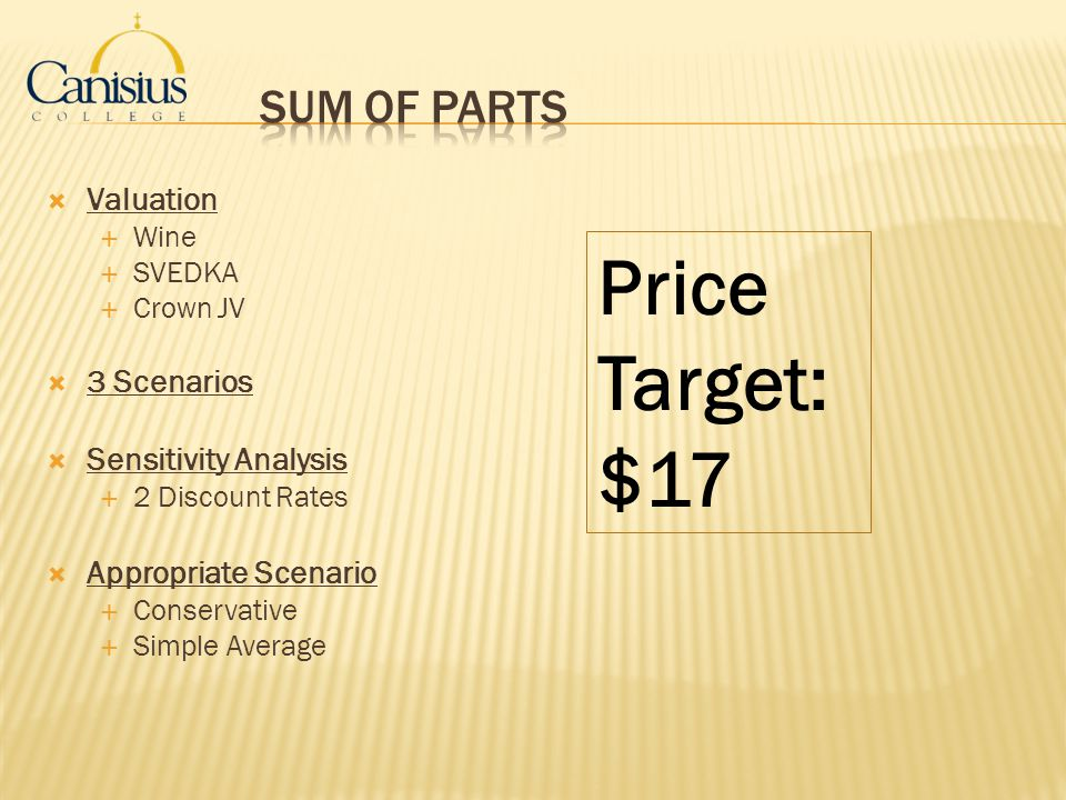 Price Target: $17 Sum of Parts Valuation 3 Scenarios