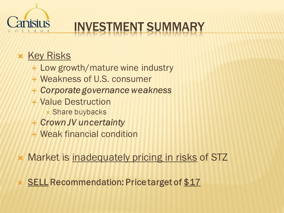 Investment Summary Key Risks