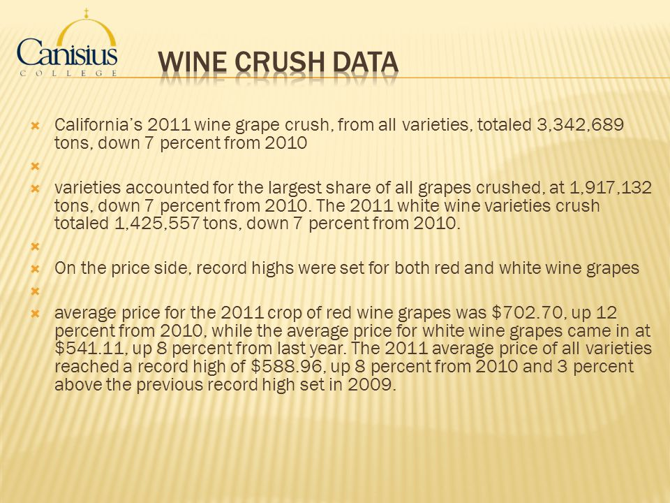 Wine Crush Data California's 2011 wine grape crush, from all varieties, totaled 3,342,689 tons, down 7 percent from 2010.