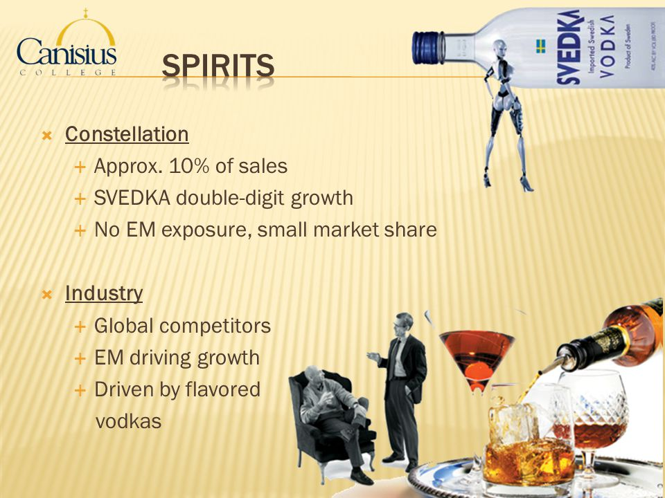 Spirits Constellation Approx. 10% of sales SVEDKA double-digit growth