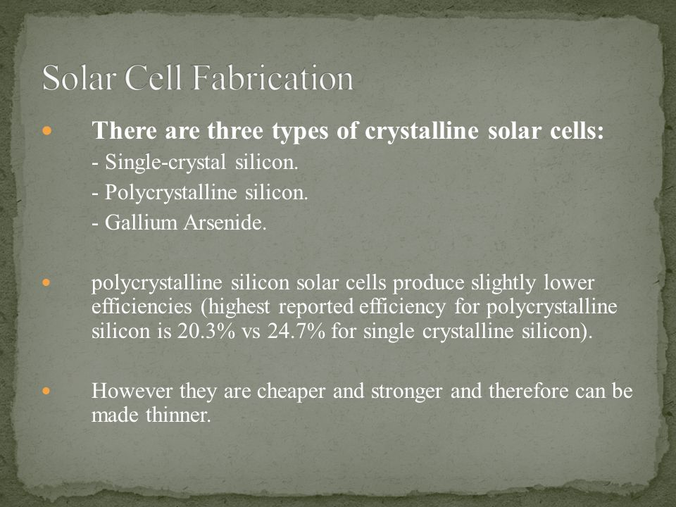 Solar Cell Fabrication