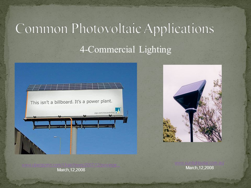 Common Photovoltaic Applications