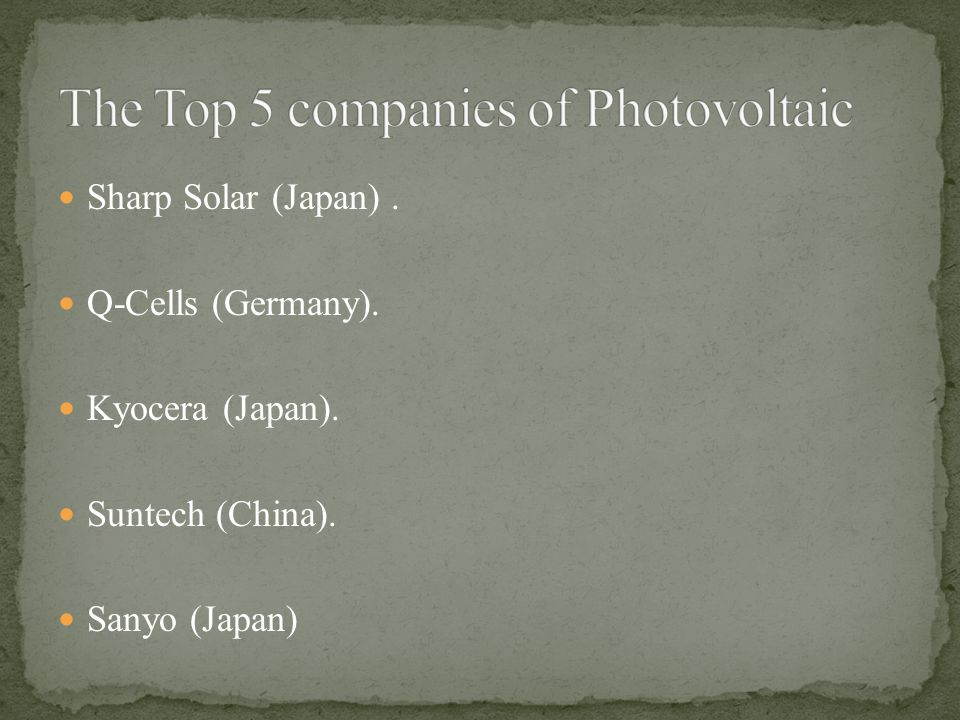 The Top 5 companies of Photovoltaic