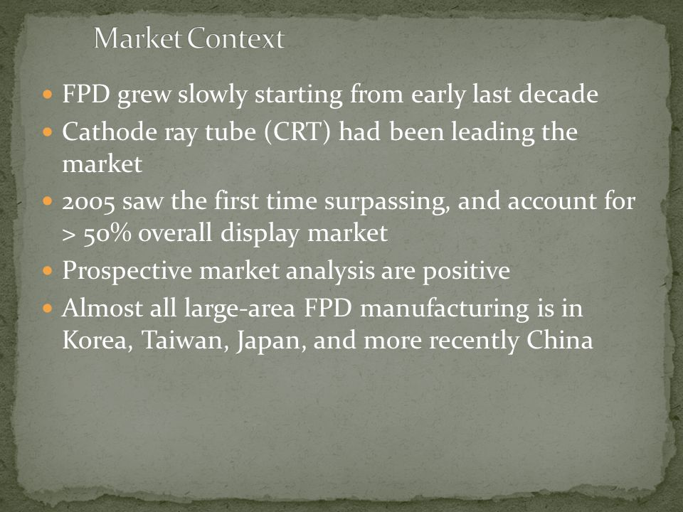 Market Context FPD grew slowly starting from early last decade