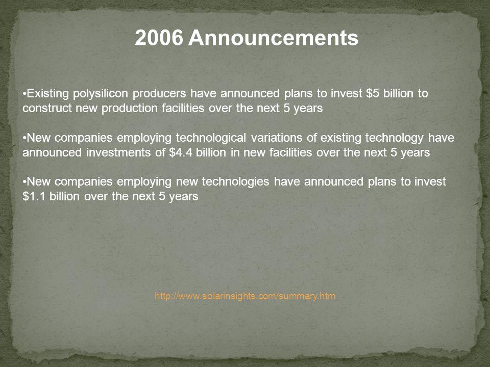 2006 Announcements