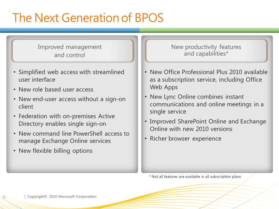 The Next Generation of BPOS