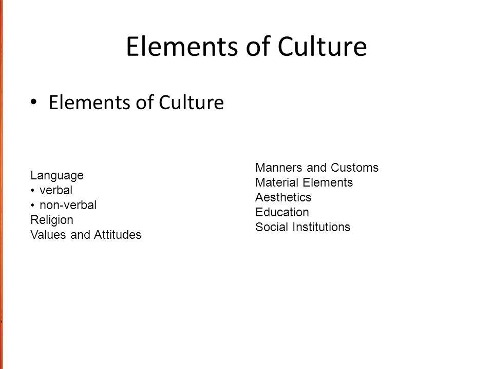 Elements of Culture Elements of Culture Manners and Customs Language