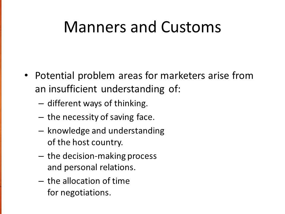 Manners and Customs Potential problem areas for marketers arise from an insufficient understanding of: