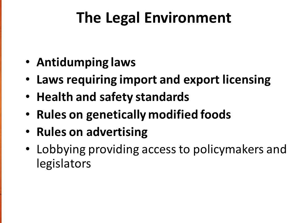 The Legal Environment Antidumping laws