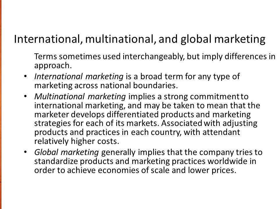 International, multinational, and global marketing