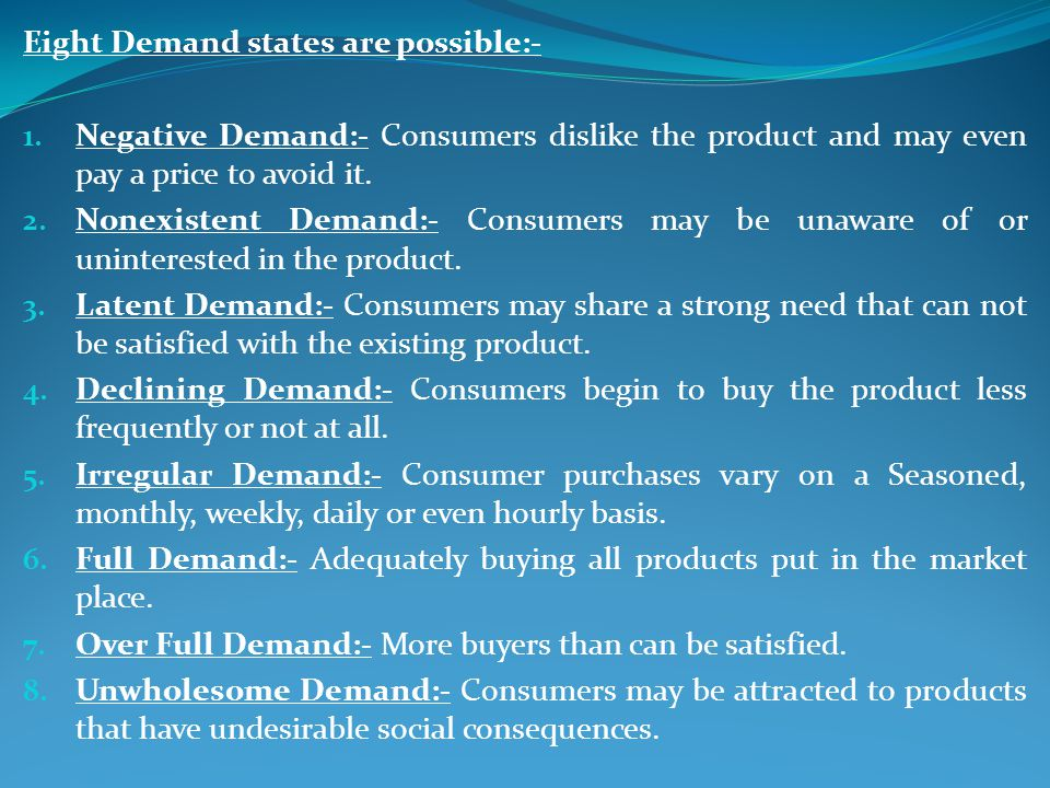 Eight Demand states are possible:-