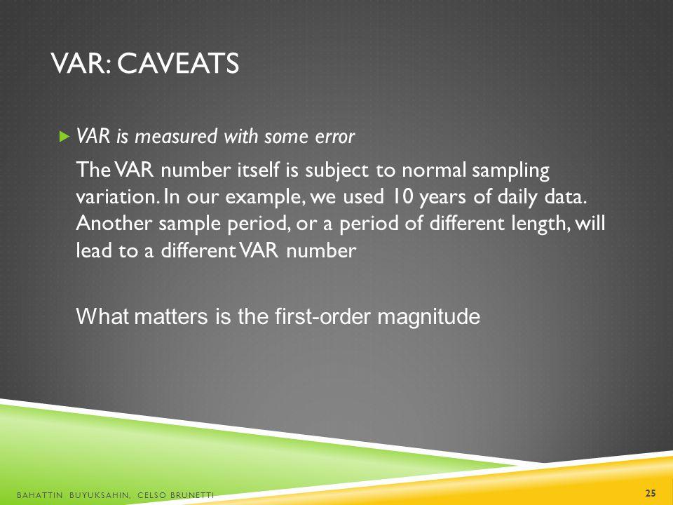 VaR: Caveats VAR is measured with some error