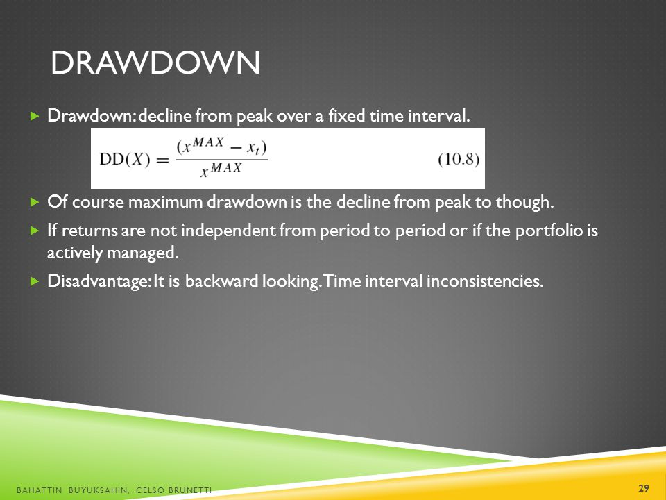 drawdown Drawdown: decline from peak over a fixed time interval.