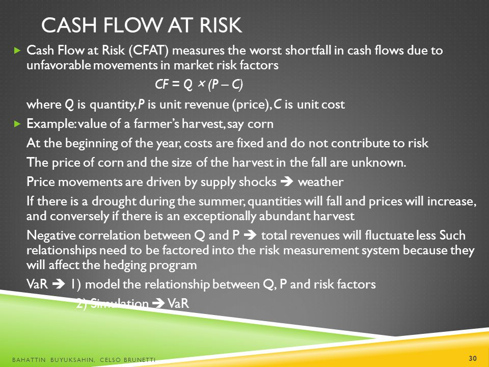 Cash Flow at Risk Cash Flow at Risk (CFAT) measures the worst shortfall in cash flows due to unfavorable movements in market risk factors.
