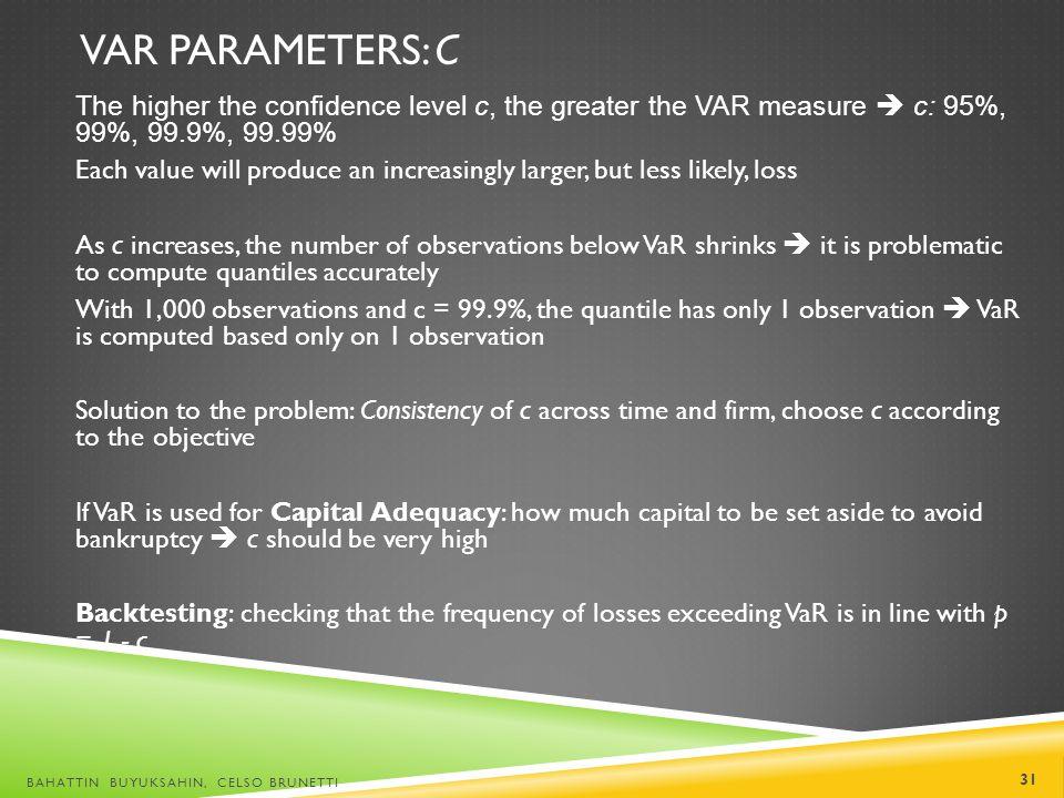 VaR Parameters: c