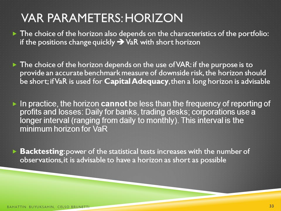 VaR Parameters: Horizon