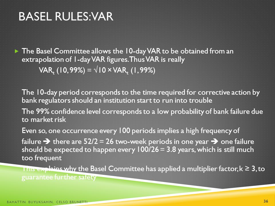 Basel Rules: VaR The Basel Committee allows the 10-day VAR to be obtained from an extrapolation of 1-day VAR figures. Thus VAR is really.