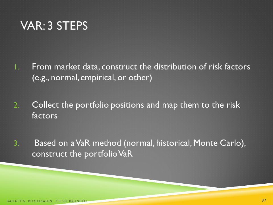 VaR: 3 steps From market data, construct the distribution of risk factors (e.g., normal, empirical, or other)