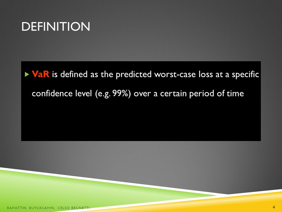 Definition VaR is defined as the predicted worst-case loss at a specific confidence level (e.g. 99%) over a certain period of time.