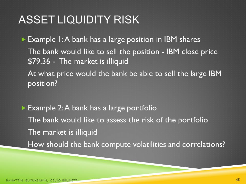Asset liquidity risk Example 1: A bank has a large position in IBM shares.
