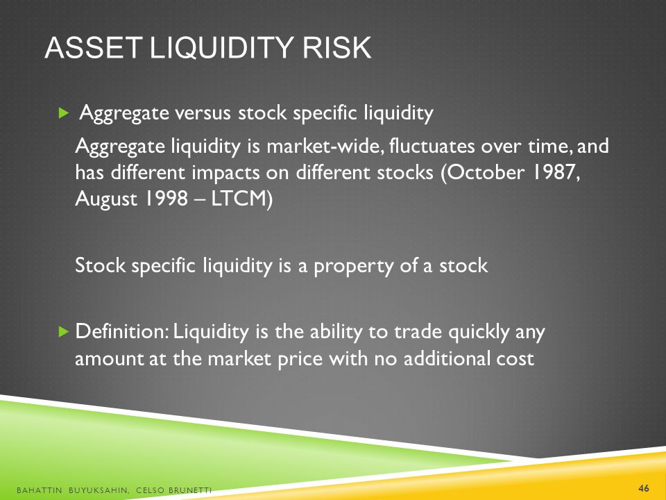 Asset liquidity risk Aggregate versus stock specific liquidity