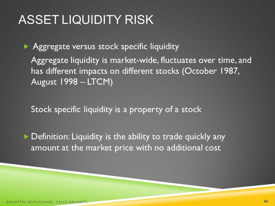 Asset liquidity risk Aggregate versus stock specific liquidity