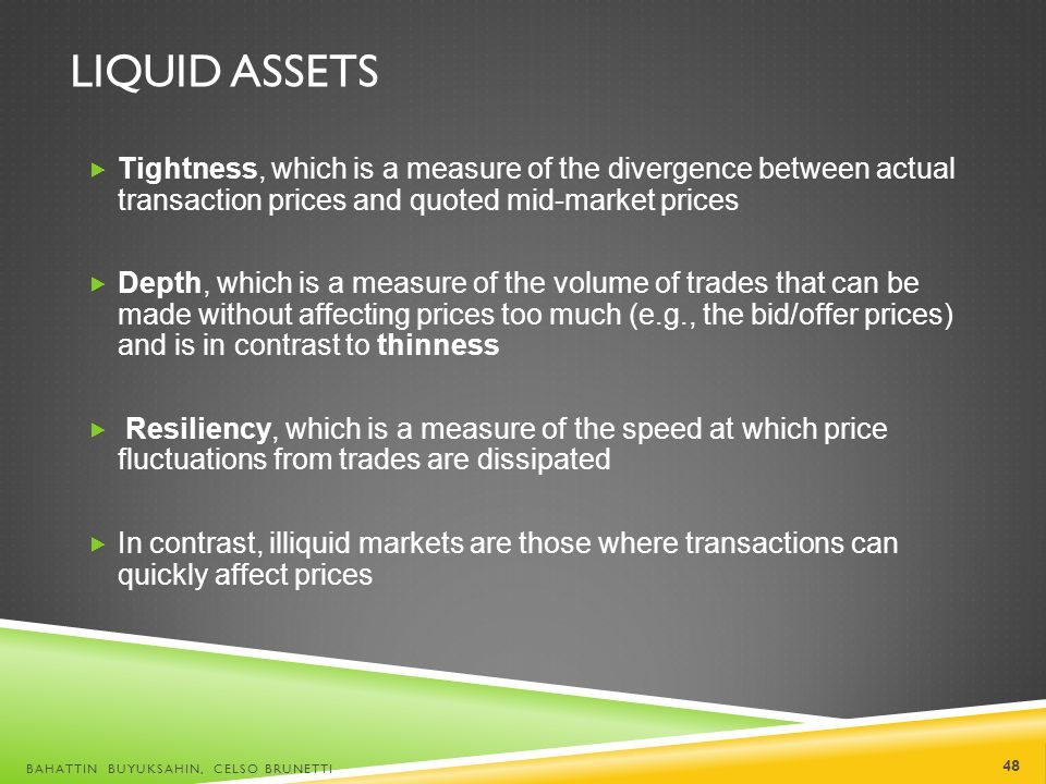 Liquid Assets Tightness, which is a measure of the divergence between actual transaction prices and quoted mid-market prices.