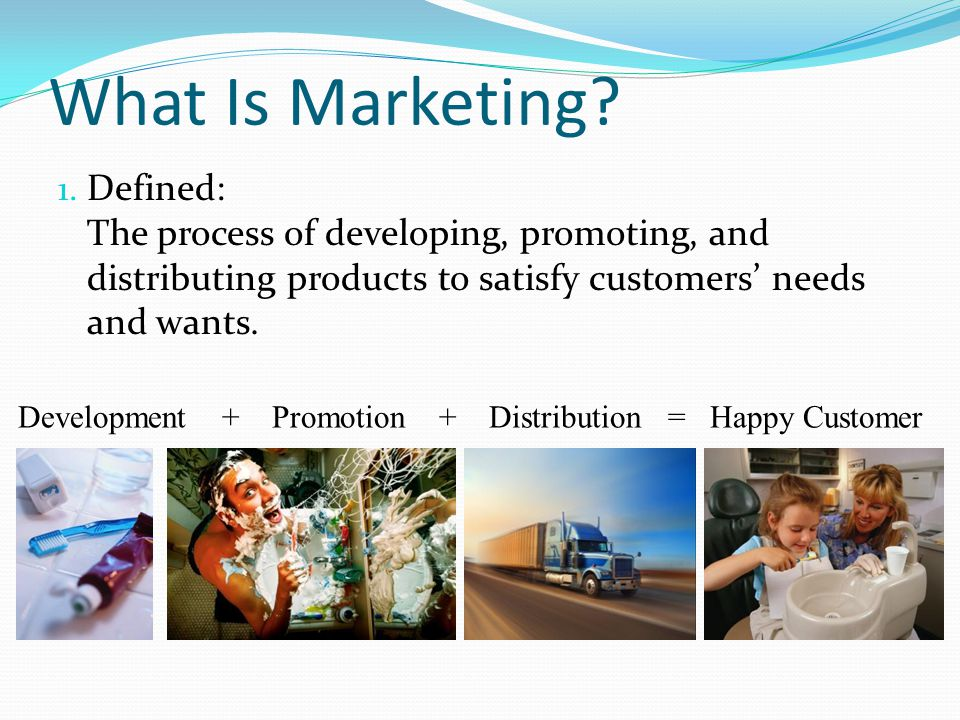 What Is Marketing Defined: The process of developing, promoting, and distributing products to satisfy customers' needs and wants.