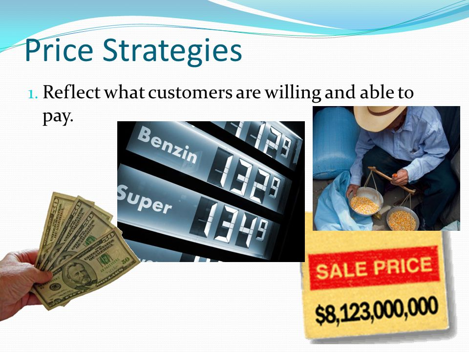 Price Strategies Reflect what customers are willing and able to pay.